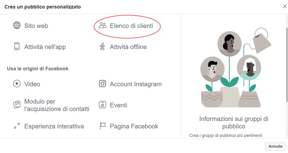come si crea un pubblico personalizzato su Facebook/Instagram - Clink